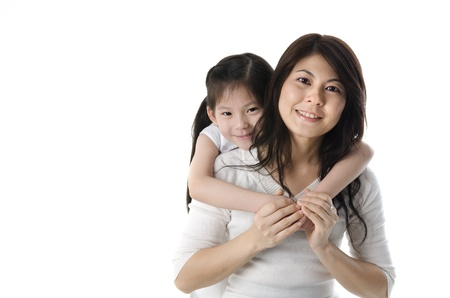 daugther: asian mother and daugther with white background