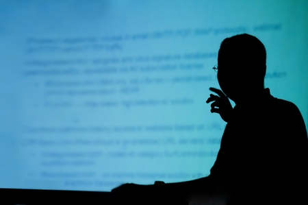 silhouette of a man doing real life presentation photo