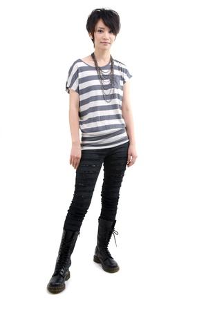 straight jacket: Punk girl full body on white background  Stock Photo