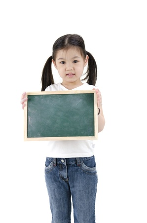 little asian girl with blank cardboard Stock Photo - 13117492