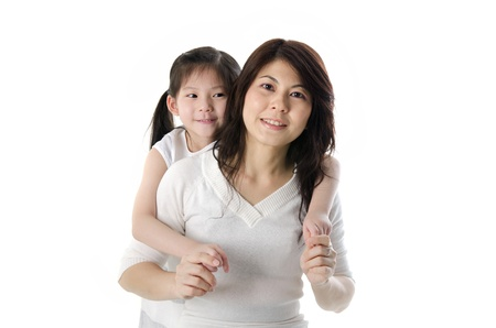 asian girl and mother with isolated white background Stock Photo - 13117497