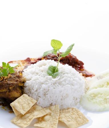 nasik lemak traditional malaysian food isolated on white photo