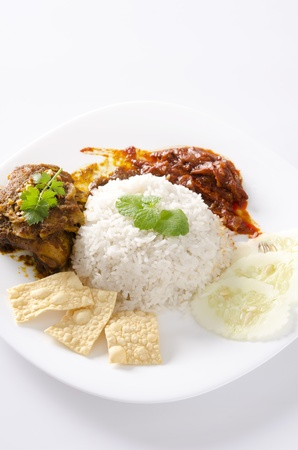 Nasi lemak traditional malaysian spicy rice dish Stock Photo - 13117502