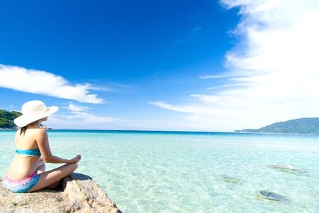 asian girl beach yoga  photo