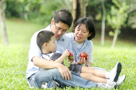 asian family having a picnic during outdoor ,focus on baby Stock Photo - 13557433