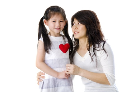Photo of Asian mother and daughter on white background, perfect for mother's day 