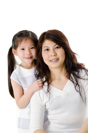 Asian mother and her daughter on white background, perfect for mothers day photo