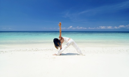 asian girl beach yoga  photo