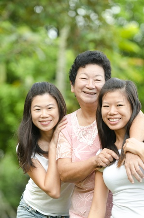 Happy Asian Senior lady and her daughters  photo