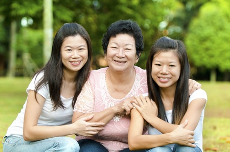 senior asian: Happy Asian Senior lady and her daughters