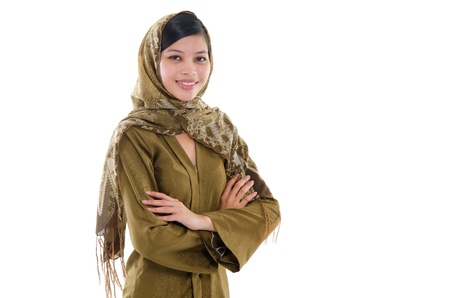 headscarf: Portrait of a young muslim woman on white background