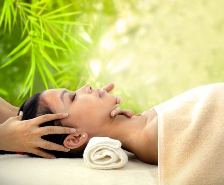 facial spa: Spa beauty skin treatment woman on tropical setup