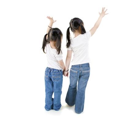 anticipating: isolated asian girls raising hands, full body