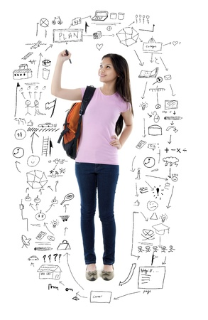 eurasian mixed race young school/college girl writing Stock Photo - 13753210