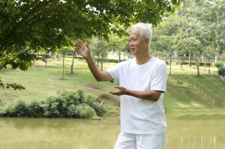 taichi: asian senior performing taichi