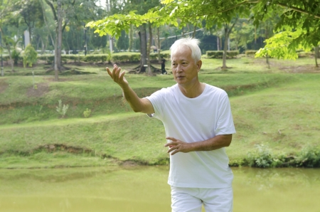 asian senior man on tai chi with outdoor photo