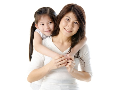 Asian mother and her daughter on white background, perfect for mothers day  Stock fotó