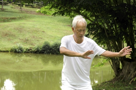 chi: asian senior performing taichi