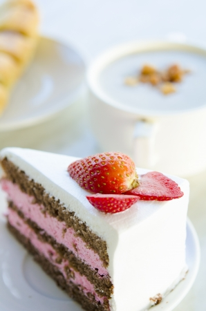 strawberry cake in the morning  photo
