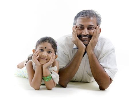 padre e hija: India asi�tica, padre e hija Foto de archivo