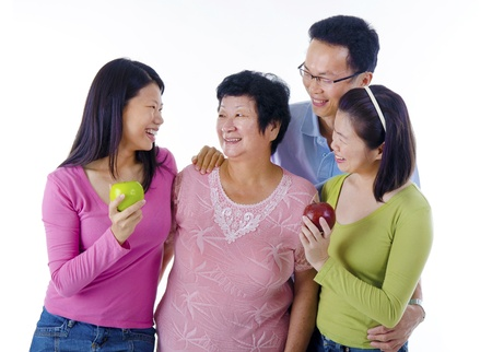 old people having fun: healthy asian family