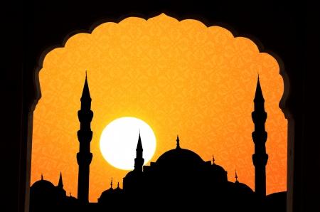 orient: sunset at halga sophia blue mosque turkey with islamic design and windows framed