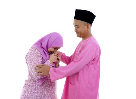 malay ethnicity: traditional malay greeting during raya festival