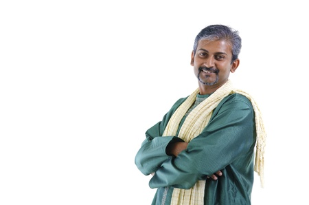 dhoti: Confident mature traditional Indian man in kurta dhoti isolated on white background