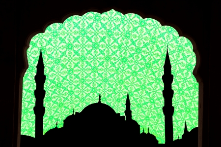 green tone halga sophia blue mosque turkey with islamic design and windows framed Stock Photo