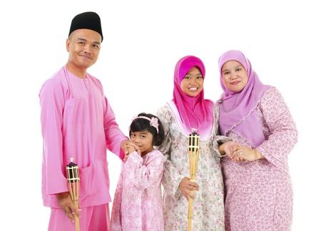 hari raya: malay raya family Stock Photo