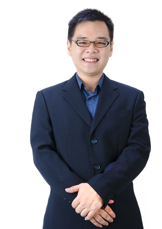 chinese business: Young good looking asian business man on a white background isolated