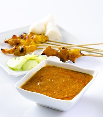 satay sauce: Chicken Satay  Stock Photo