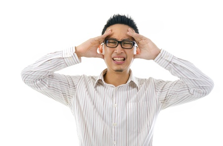overworked asian business man Stock Photo - 14898736