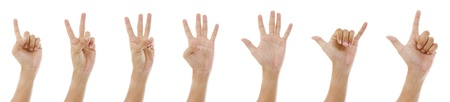 hand sign 1 to 7 Stock Photo - 14933916