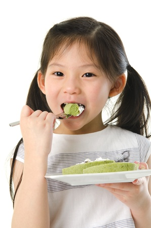 asian pear: asian girl eating Stock Photo