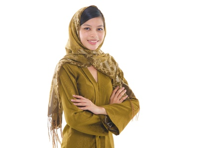 sarong: Portrait of a young muslim woman on white background