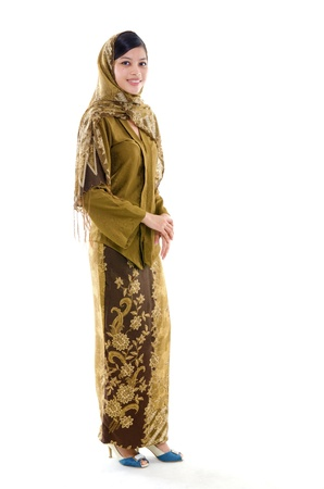 adult indonesia: Full body young muslim woman traditional kebaya on white background