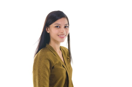 adult indonesia: Portrait of a young muslim woman on white background