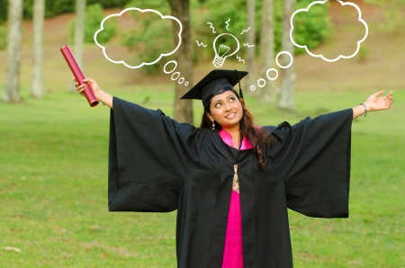 indian female graduate thinking about future prospects photo