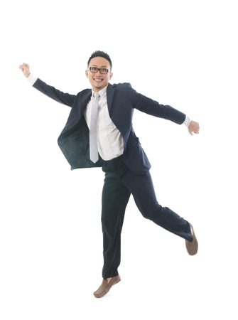 asian business male  jumping in joy