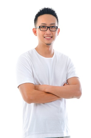 asian smile: asian man in casual