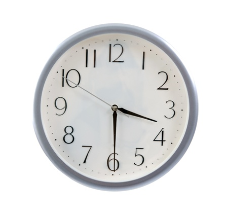 oclock: isolated white clock at 3.30pm , tea time Stock Photo