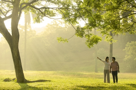 asian female and her mother during a beautiful morning Stock Photo - 14977603