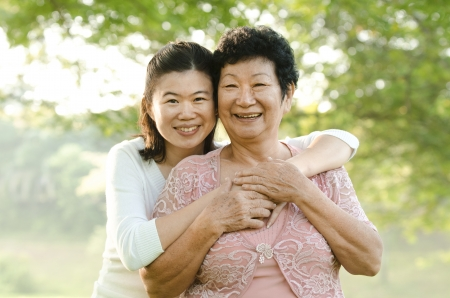 daugther: portrait of asian mother and daugther  Stock Photo