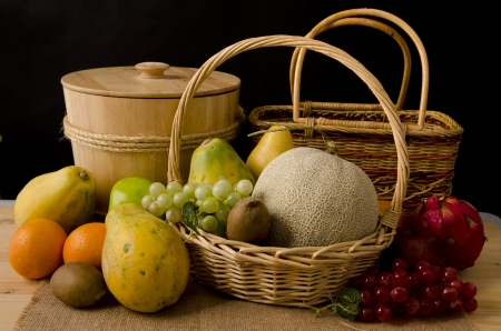 group fruits in dark background Stock Photo - 14990258