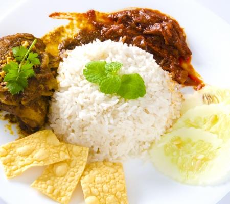 nasi: Nasi lemak traditional malaysian spicy rice dish