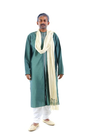 traditional   dress: serious looking indian man in traditional dress Stock Photo