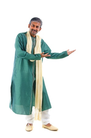 dhoti: indian male in dhoti dress, full body welcome gesture