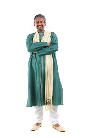 indian male in dhoti dress, full body crossed arm photo