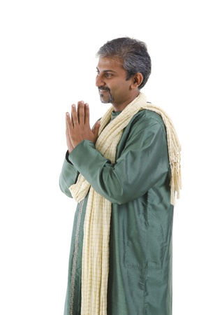 indian male in dhoti dress, greeting photo